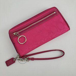 Coach Pink Monogram Wristlet Wallet